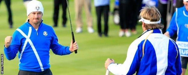 Graeme McDowell, veteran of three Ryder Cups, was paired with debutant Victor Dubuisson