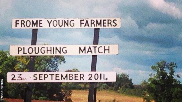Jenson Button tweets a picture of the Frome Young Farmers' Ploughing Match