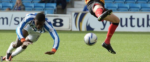 Tope Obadeyi scores for Kilmarnock against Partick Thistle