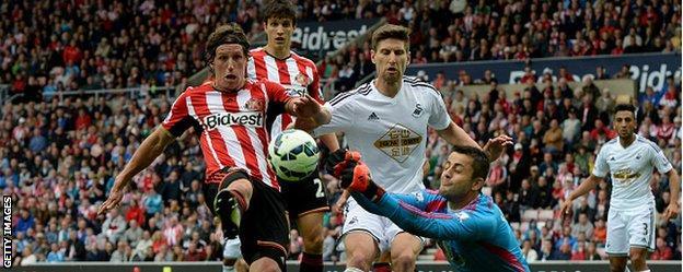 Swansea goalkeeper Lukasz Fabianski denies Sunderland's Billy Jones