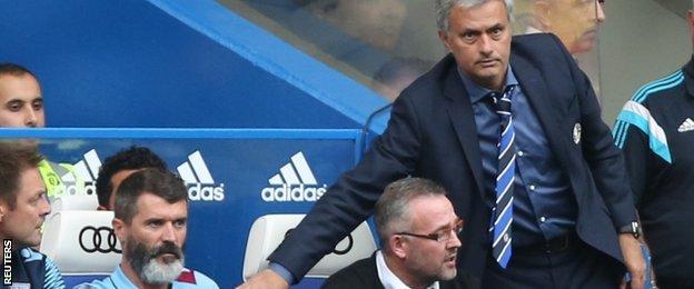 Roy Keane (left), Paul Lambert and Jose Mourinho (right)