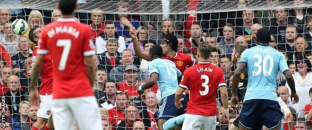 Diafra Sakho pulls a goal back for West Ham at Manchester United