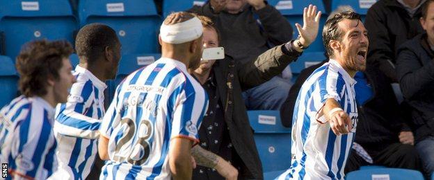 Manuel Pascali celebrates after scoring for Kilmarnock against Partick Thistle