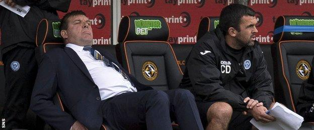 St Johnstone manager Tommy Wright (left) shows his displeasure in the dugout