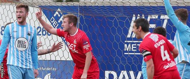Mark McAllister pulled a goal back for Portadown just before the half-time whistle