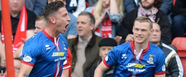 Josh Meekings (left) celebrates after opening the scoring for Caley Thistle