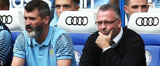 Villa assistant Roy Keane (left) and manager Paul Lambert