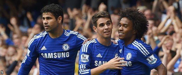 Chelsea goalscorers Diego Costa, Oscar and Willian