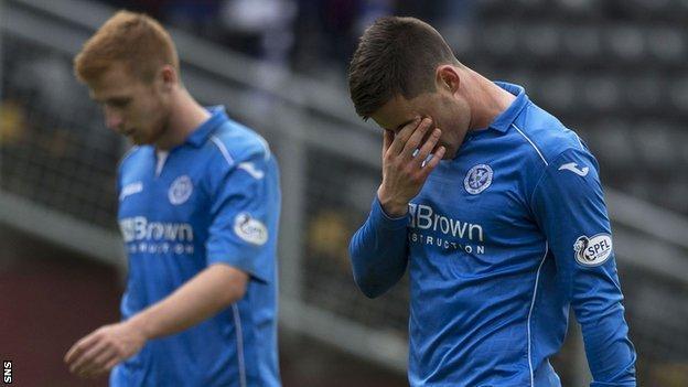 St Johnstone striker Michael O'Halloran looks dejected