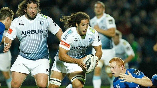 Blues in action against Leinster