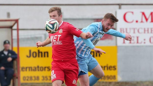 Mark McAllister and Dermot McVeigh in action as Portadown are held to a 2-2 draw by Warrenpoint