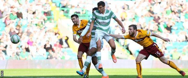 Stefan Scepovic in action for Celtic against