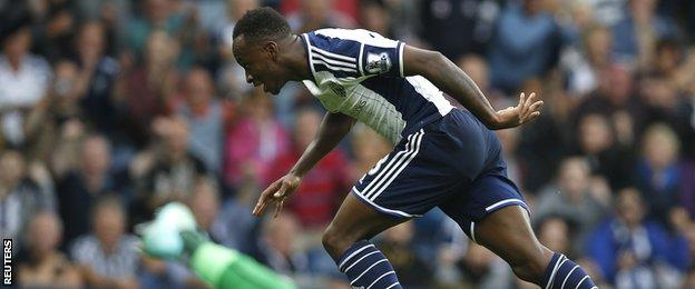West Brom striker Saido Berahino celebrates scoring against Burnley