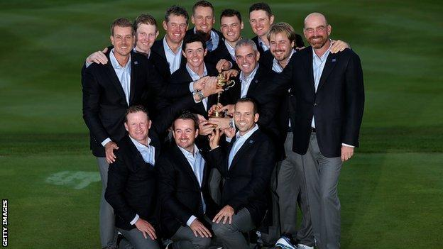 Europe pose with the Ryder Cup trophy after defeating the United States at Gleneagles