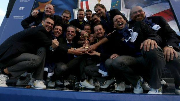 Europe celebrate Ryder Cup win