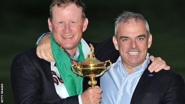 Jamie Donaldson and Paul McGinley with the Ryder Cup