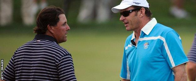 Phil Mickelson and Sir Nick Faldo in Valhalla after USA beat Europe in 2008