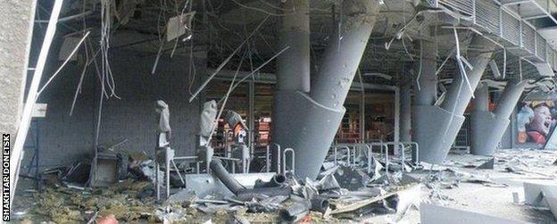 Blast damage at the Donbass Arena