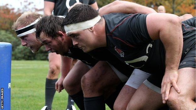Andrew Sheridan takes part in England scrummaging practice alongside Steve Thompson and Dan Cole
