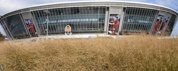 The Donbass Arena in Donetsk