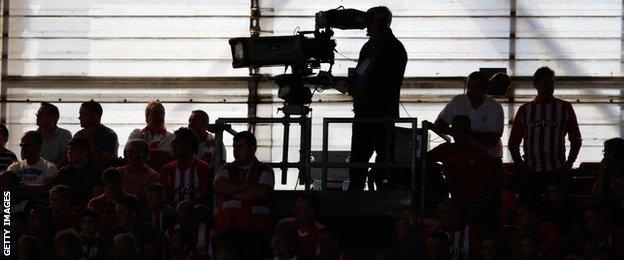 Television cameras at Southampton match