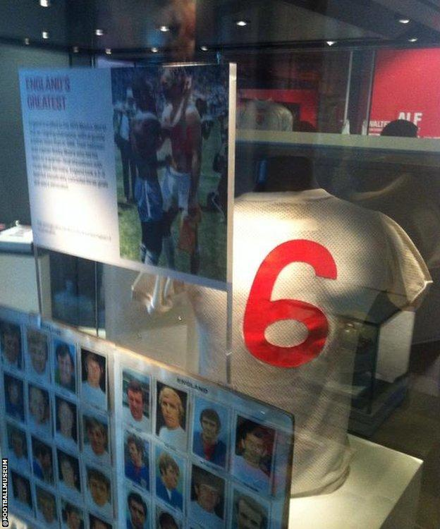 The shirt belonging to Bobby Moore that he swapped with Pele