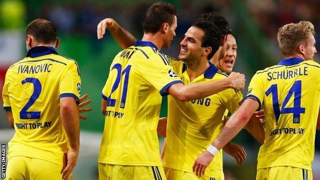 Nemanja Matic & Cesc Fabregas celebrate