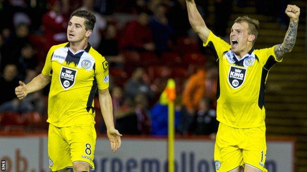 Kenny McLean and Gregg Wylde (right) celebrate at full time after St Mirren secure a point at Pittodrie