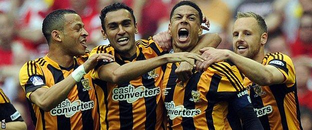 Hull City after scoring in the FA Cup final