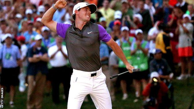 McIlroy celebrates the second of his two major wins in 2014 at Valhalla