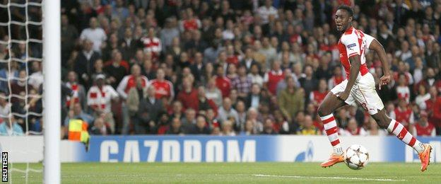 Danny Welbeck scored a hat-trick for Arsenal against Galatasaray