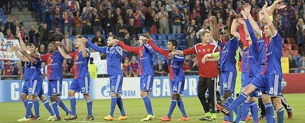 Basel celebrates beating Liverpool