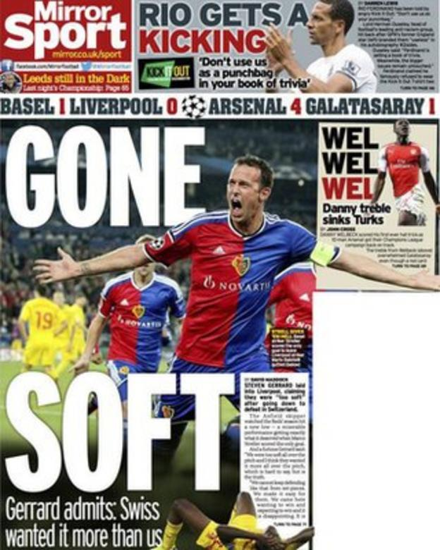 Thursday's Daily Mirror back page
