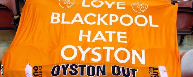 Blackpool flag Karl Oyston