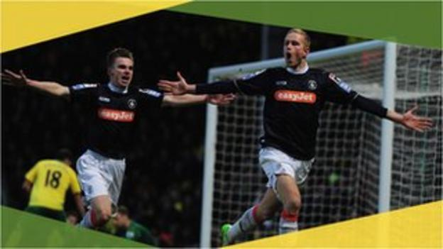 Luton Town's Scott Rendell celebrates his goal against Norwich in the 2013 FA Cup