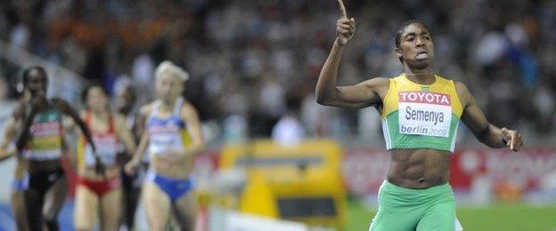 Caster Semenya wins the 800m at the 2009 Worlds