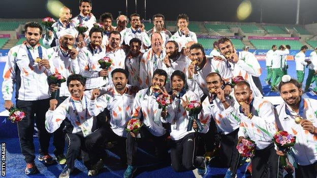 India celebrate beating Pakistan at the Asian Games