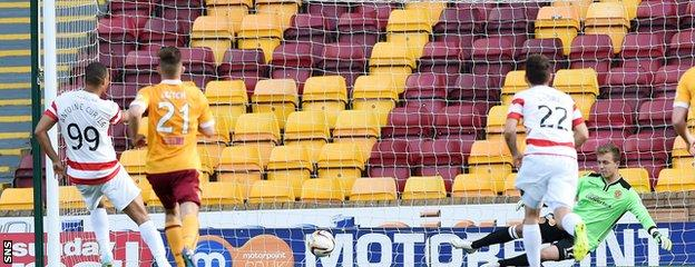 Mickael Antoine-Curier nets the third goal in Hamilton's 4-0 derby win over Motherwell