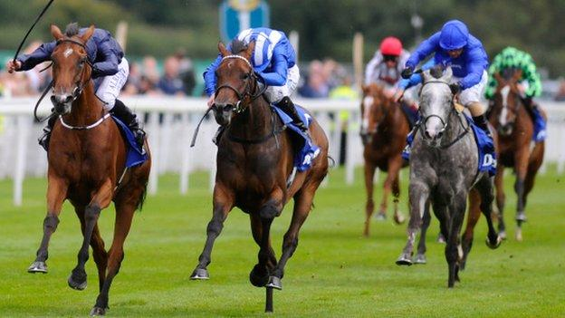 Tapestry beating Taghrooda in the Yorkshire Oaks