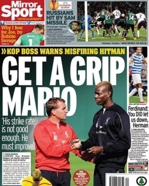 Friday's Daily Mirror back page
