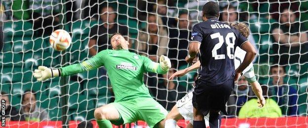 Craig Gordon makes a great save to deny Wilson Eduardo