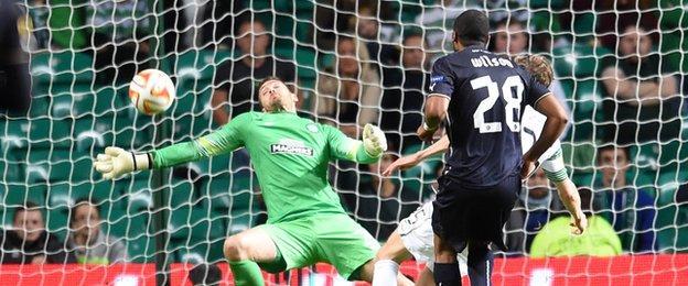Craig Gordon saves from Eduardo once again at Celtic Park