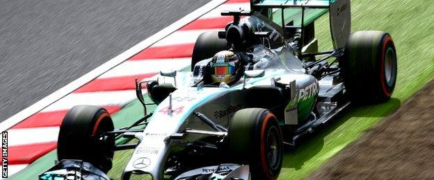Lewis Hamilton of Great Britain and Mercedes GP runs off the track
