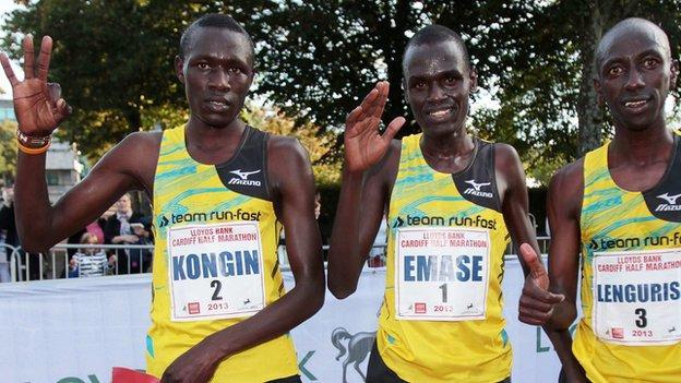 2013 Cardiff Half Marathon winner Loitarakwai Lengurisi (right) with Peter Emase-Lemuya (centre) and Boniface Kongin (left)