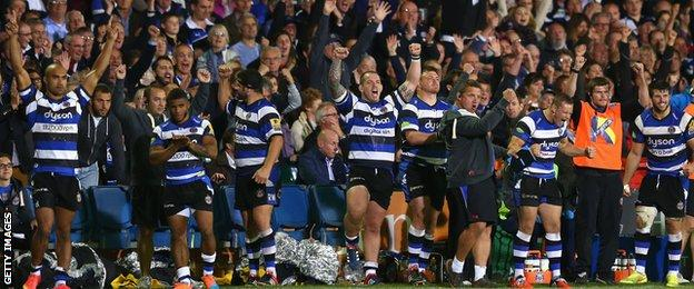 Bath celebrate beating Saracens