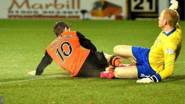 Stuart Armstrong and Craig Samson collide