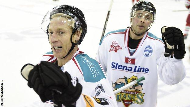 Mike Kompon shows his delight after scoring for the Belfast Giants against Cardiff