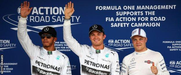 Hamilton, Rosberg & Bottas celebrate getting the three quickest times