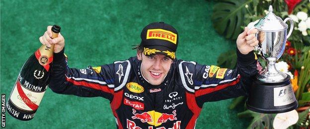Sebastian Vettel celebrating