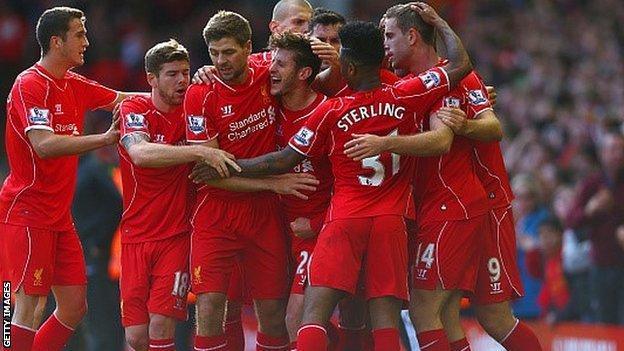 Liverpool celebrate Adam Lallana's goal